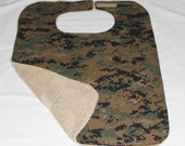 Womens or Mens Adult Bib/Clothing Protector - Reversible - Terry Cloth/Cotton -  Marine Marpat