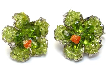 Swoboda Flower Clip on Earrings Genuine Peridot and Coral, Silver Tone, Vintage Collection