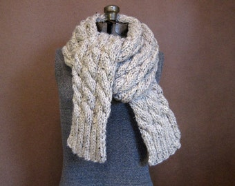 Extra Long Chunky Cable Knit Scarf - The Denali - MADE TO ORDER