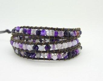 3 laps Agated Beaded Wrap Bracelet Leather Layer Bracelet Gemstone Beaded