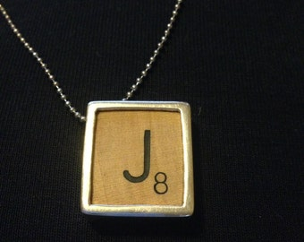 Scrabble piece  Pendant. Scrabble Initial Pendant or charm. Wood and silver