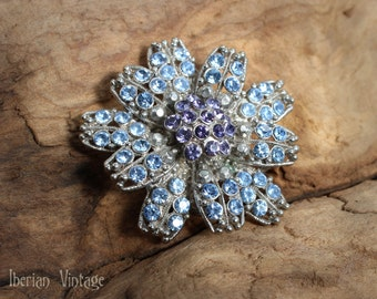 Beautiful Pale Blue and Lavender Rhinestone Brooch or Pendant, Two Tiered Flower with Pin and Hoop