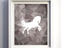 Horse Print Art Modern wall decor art poster minimalist animal print geometric print polygonal horse silhouette animal print taupe brown art