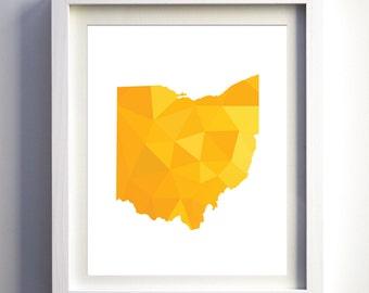Geometric Ohio State art print minimalist polygonal modern wall art united states decor art mustard yellow orange print travel art nursery