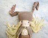 Sweet Doll- Beige Color Bunny Hat-Stuffed Doll-Handmade Doll-Soft Doll-Best Friend For Girl-OOAK Doll-Art Doll