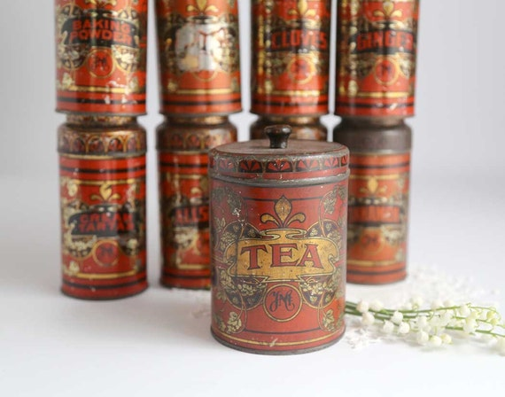 Antique spice tins set of 9 vintage ymc spice tins kitchen for Retro kitchen set of 6 spice tins