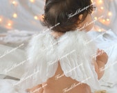 Newborn Toddler Large ANGEL WINGS and/or Headband - Photo Prop . Baby Girl Headbands . Angel Ivory Wings . Baby Bow Headband Pink White