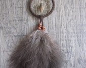 Dream Catcher Chocolate Brown Suede with Turkey Fluffs ~ Car Mirror