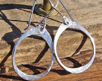 Silver Earrings, Silver Dangle Earrings, Sterling Silver Hoop Dangle Earrings, Silver Oval Earrings, Gift For Her, Hammered Silver Earrings