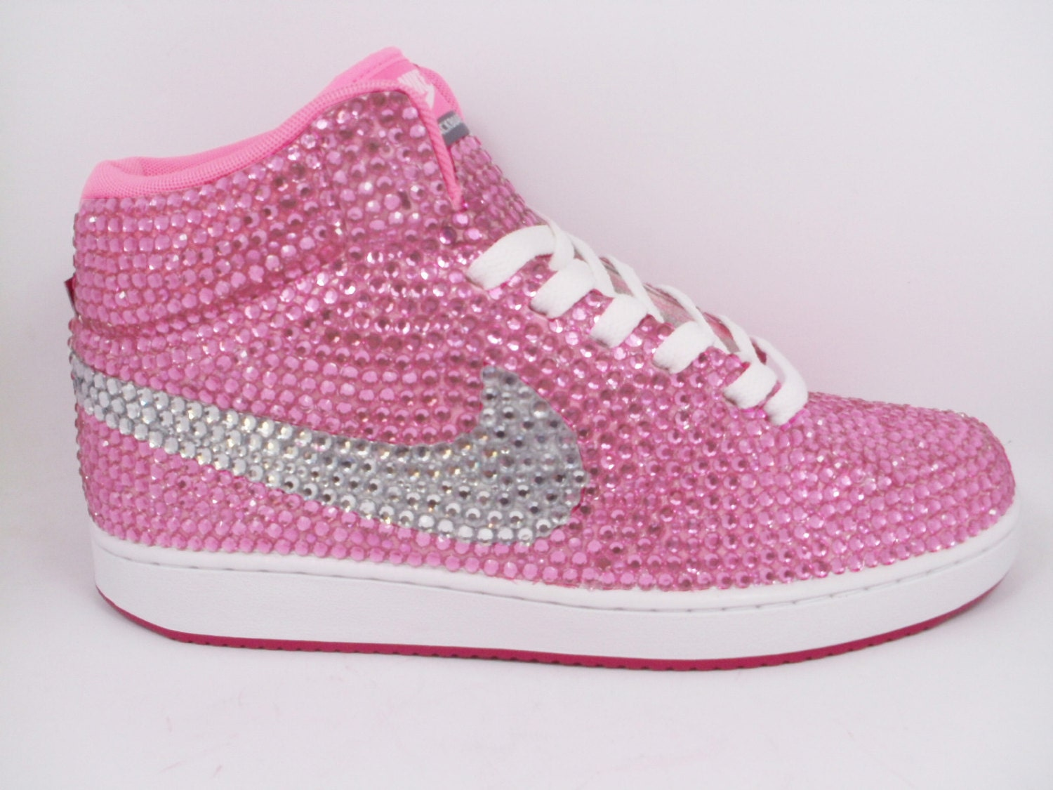 custom pink nike shoes as made for paytas rhinestone