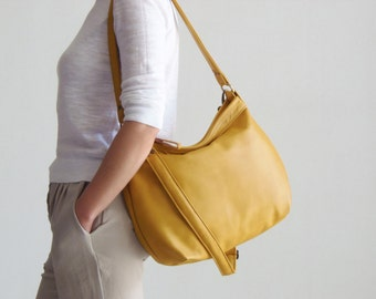 Yellow Leather Handbag , Leather Hobo Bag , Leather Purse - MEDIUM HELEN