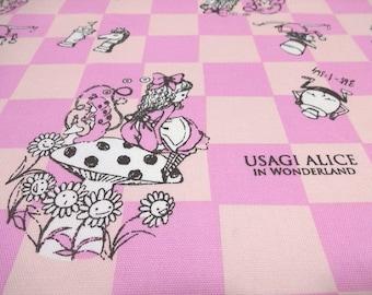 Japanese Fabric Usagi Alice Chess Pink  Fat Quarter