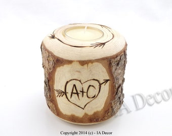 Carved On A Tree - Lodge Tea Light Candle Holder - Personalized Candle Holder - 'Carved on a Tree' - Personalized Wedding Gift