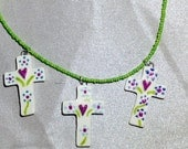 Floral Heart Cross, Christian Jewelry, Cross Necklace, Floral Painted Cross, Handmade Ceramic Cross, Cross with a Heart, Cross With Love