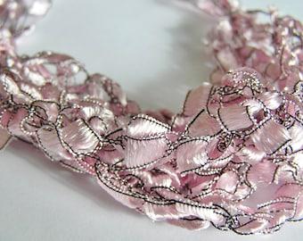Ballet Pale Pink Ladder Ribbon Crocheted Bracelet