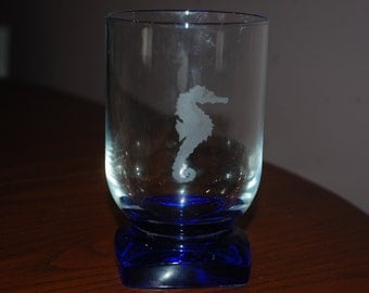 Blue Accented Glass with Seahore Etched Design