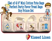 """Fairytale Prince  Birthday Treat Favor Bags Mini 6"""" White Canvas Totes Children Kids Guests Prince Party Favor Treat Gift Bags - Set of 4"""