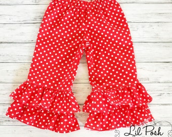 Girls Red and White Polka Dot Double Ruffle Pants