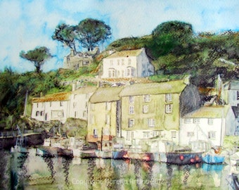 Polperro Cornwall Giclee Print of  Watercolour and Ink Painting on Watercolour Paper