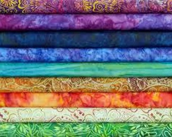 Scrap Bag 12 Assorted Batik Fabrics 1/4 yard cuts. Great Stash Builder.