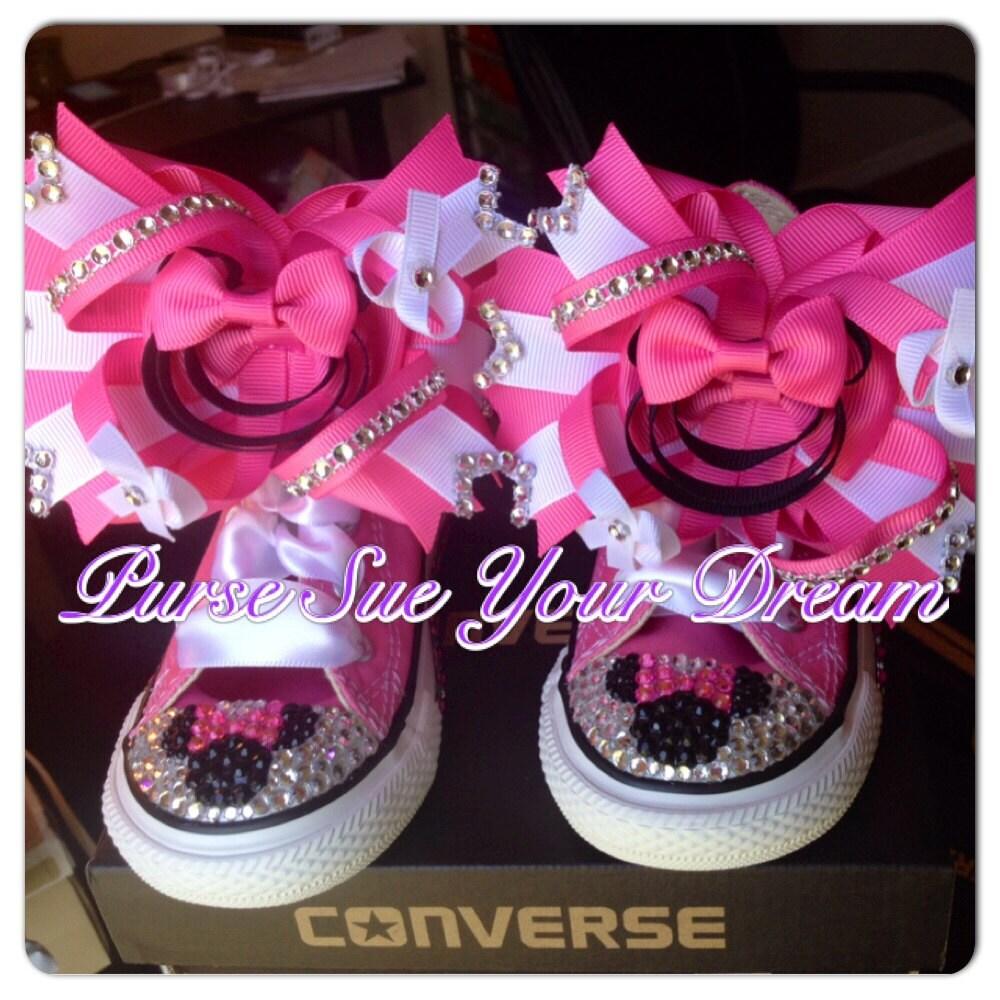 Custom Minnie Mouse Crystal Rhinestone Converse Shoes Minnie