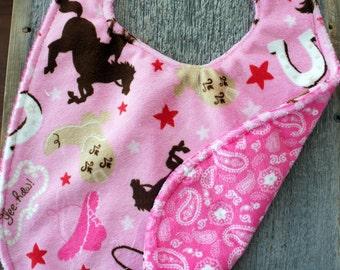 Minky Bib - Pink Cowgirl Minky - Pink Paisley Minky