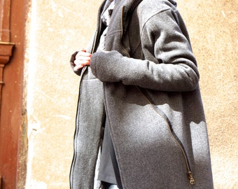 NEW Extra Warm Qilted Winter Asymmetric Extravagant Grey Hooded Coat/ Wool/Cashmere Blend/ Double Zipper/Large Pocket by AAKASHA A07198