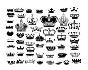 Crown silhouette digital clipart vector eps png files black Clip Art Images Instant Download