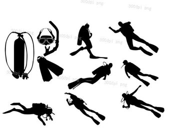 Divers silhouette digital clipart vector eps png files black Clip Art Images Instant Download
