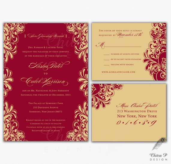 red & gold wedding invitations rsvp printed indian, Wedding invitations