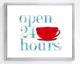 Retro Kitchen Art Print, 8x10, Coffee Cup, Diner Art, Vintage Kitchen Decor