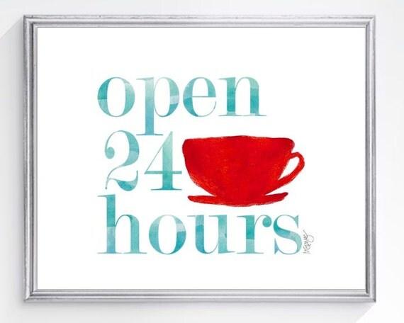 Retro Kitchen Art Print, Coffee Cup 5x7, 8x10