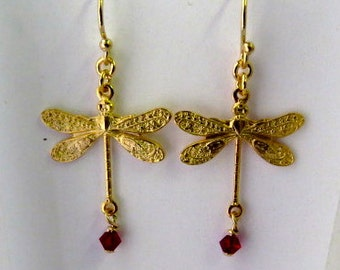 Gold Dragonfly with 3mm crystal earrings