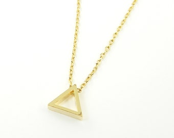 Delta Necklace Tiny Gold Triangle Necklace Dainty Simple Geometric Minimalist Everyday Jewelry |NB1-7