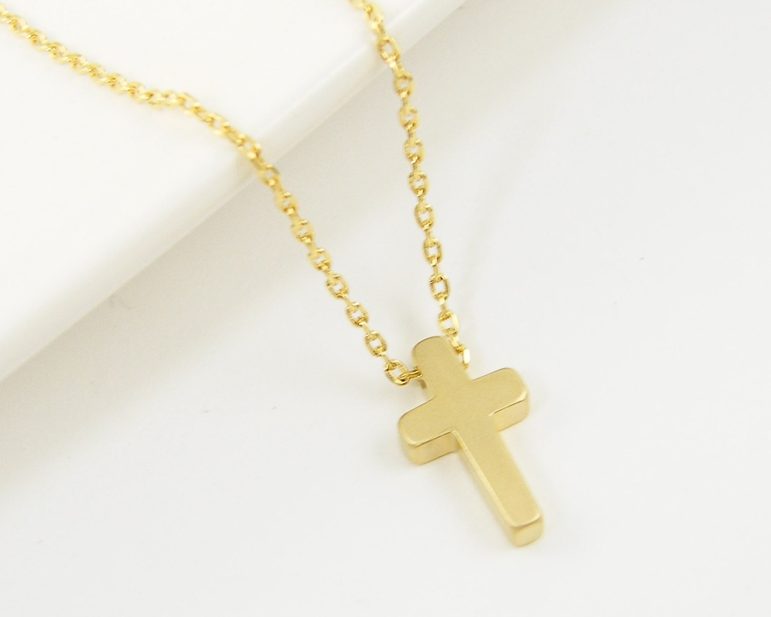 small gold cross necklace christian cross by