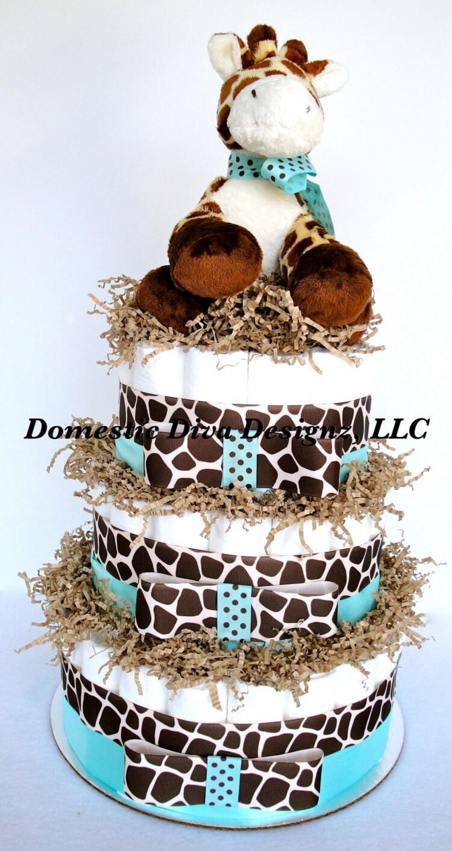 Blue And Brown Themed Bathroom: Diaper Cake Giraffe Theme Blue & Brown By DomesticDivaDesignz