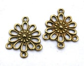 10 Antique Bronze Flower 1 to 3 Connectors/Links Jewelry Compoments