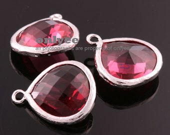 2pcs-18mmX15mmLarge Rhodium plated Brass Faceted Tear Drop With Glass pendants-Ruby(M363S-F)