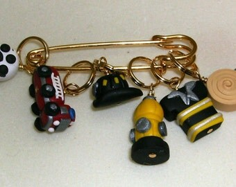 Stitch Markers Fire Fighter Fireman inspired  for Knit or Crochet set of 6 Hydrant Jacket Hose truck engine
