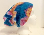 Colorful fleece slouchy, winter beanie, blue, pink, orange winter hat