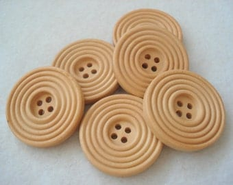 30mm Wooden Buttons, Cream Ridged Pattern Buttons, Pack of 10 Cream Buttons, W3074