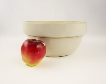 """Vintage, Aged, Crockery 10"""" Bowl With Gloss Finish -Great Surface -Useful - Cream-colored - Fill it Up"""