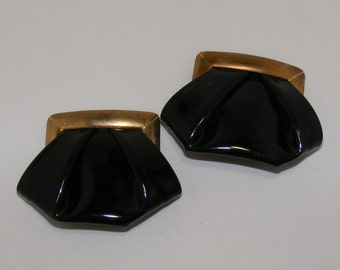 Vintage Bluette Made in France Vinyl and Brass Shoe Clip
