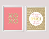Baby Girl Gift-She Leaves a Little Sparkle/XOXO Pink and Gold Glitter Newborn Nursery Decor from paper and palette