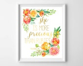 Nursery Scripture Print-She is More Precious than Rubies Art Print by paper and palette