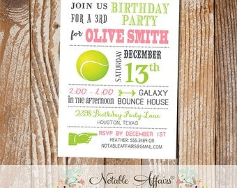 Pink and Chartreuse Girl Modern Tennis Birthday Party Invitation - choose your colors