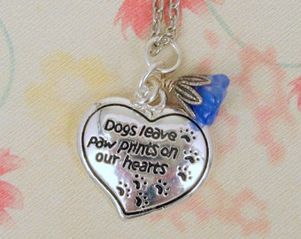 """Sterling Silver 925 Charm """"Dogs Leave Paw Prints on Our Hearts"""" Animal Rescue, Animal Love, Animal Awareness on Silver Plated 20"""" Chain"""