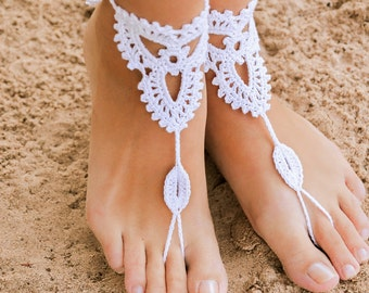 Beach wedding White Crochet Barefoot Sandals Nude shoes Foot jewelry Bridal barefoot sandal Bridal lace shoes Wedding accessory Bridesmaid