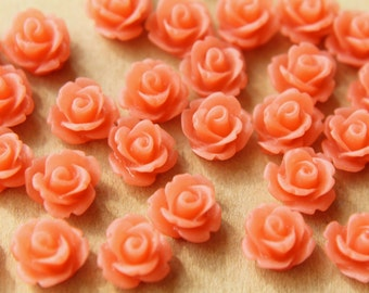 30 pc. Frosted Salmon Pink Rose Cabochon 10mm | RES-466