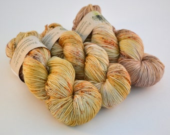 Hand dyed yarn pick your base - Sand - sw merino cashmere nylon fingering dk worsted